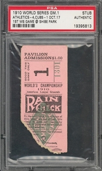 1910 World Series Game 1 Ticket Stub - First World Series Game At Shibe Park- (PSA)