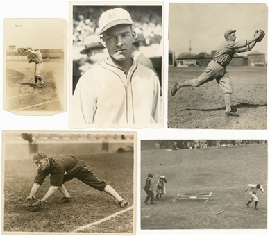 Lot of (5) Original Baseball Photography Featuring Babe Ruth, Buck Weaver, Mel Ott & Eddie Collins (PSA/DNA Type 1)