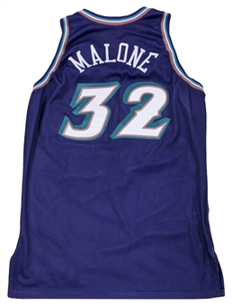1998 Karl Malone NBA Finals Game Used Utah Jazz Road Jersey (MEARS A10, Equipment Manager LOA & Sports Investors Authentication)