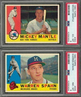 1960 Topps Hall of Famers PSA-Graded Pair (2 Different) Including Mantle and Spahn