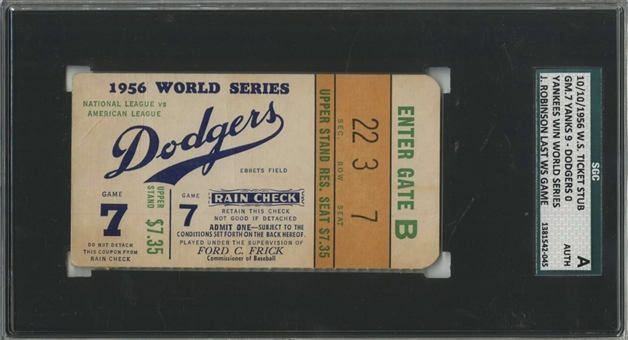1956 New York Yankees Vs Dodgers World Series Game 7 Ticket Stub - Jackie Robinson Last World Series Game (SGC AUTH)