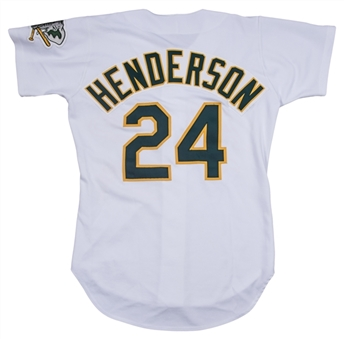1993 Rickey Henderson Game Used Oakland As Home Jersey