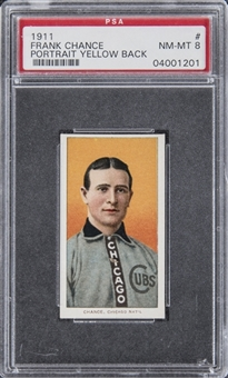 "1909-11 T206 White Border Frank Chance, Portrait, Yellow Background, Rare ""Cycle - 350 Subjects"" Back – PSA NM-MT 8"