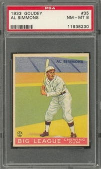 1933 Goudey #35 Al Simmons – PSA NM-MT 8