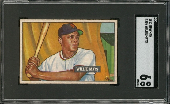 1951 Bowman Near Set (323/324) Including SGC EX-MT 6 Willie Mays Example!