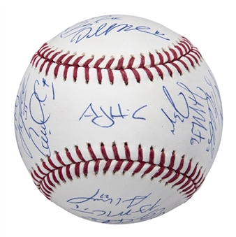 2017 World Series Champions Houston Astros Team Signed OML Manfred World Series Baseball With 22 Signatures (Tristar)