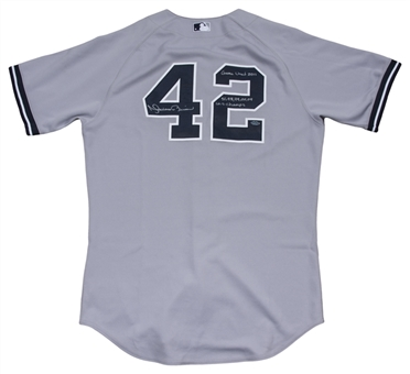 2011 Mariano Rivera Game Used, Signed & Inscribed New York Yankees Road Jersey (MLB Authenticated & Yankees-Steiner)