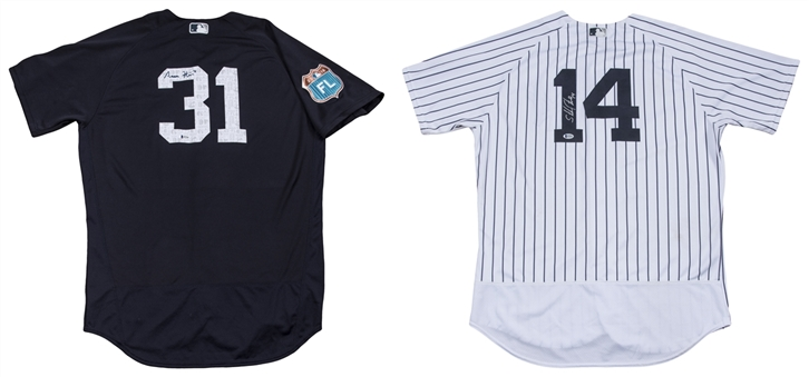 Lot of (2) 2016 Aaron Hicks & Starlin Castro Game Used & Signed New York Yankees Jerseys (MLB Authenticated, Yankees-Steiner & Beckett)