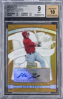 2009 Bowman Sterling Prospects Gold Refractors #MT Mike Trout Signed Rookie Card (#15/50) – BGS MINT 9/BGS 10