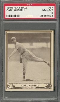1940 Play Ball #87 Carl Hubbell – PSA NM-MT 8