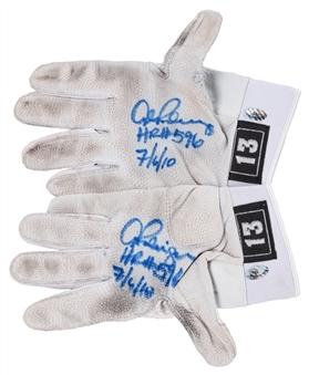 2010 Alex Rodriguez Game Used, Signed & Inscribed Batting Gloves Used On 7/6/10 For Career Home Run #596 - Grand Slam #21 (Rodriguez LOA)