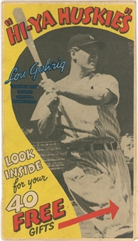 1930s Huskies Cereal Collection (50+) Including Lou Gehrig Fold-Out Breakfast Cereal Ad Pamphlet