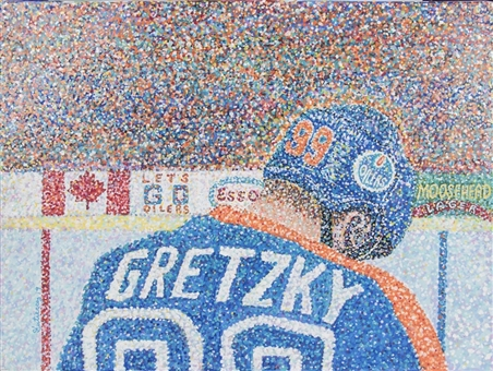 2019 Wayne Gretzky Original Mixed Media Painting By Artist Greg Gutierrez On 18x24 Canvas - Gretzky Takes A Bow