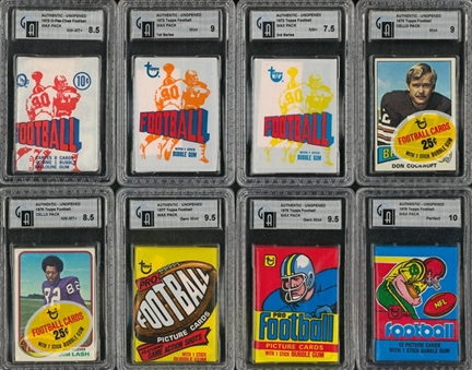 1961-1986 Topps, Nu-Cards and O-Pee-Chee Football Unopened Packs GAI-Graded Collection (22)