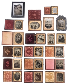"19th Century Mostly ""Baseball""-Themed Tintype Photo Collection (34 Different)"