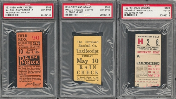 1934-37 Lou Gehrig Home Run Ticket Stub Collection - Lot of 3 (PSA)