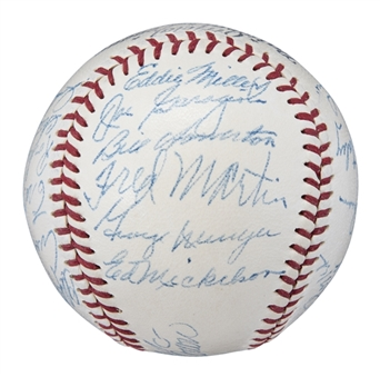 1950 St. Louis Cardinal Team Signed ONL Frick Baseball With 23 Signatures Including Schoendienst & Musial (PSA/DNA NM-MT 8)