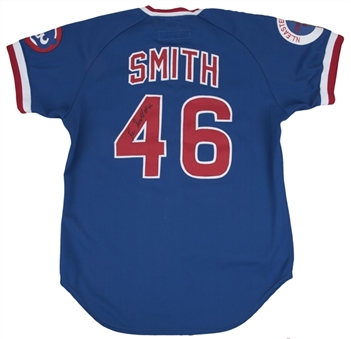 1984 Lee Smith Game Used & Signed Chicago Cubs Blue Alternate Jersey (Sports Investors Authentication & JSA)