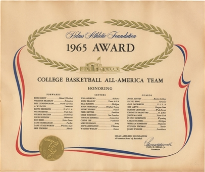 1965 Helms Athletic Foundation All-America Team Award Presented To David Bing