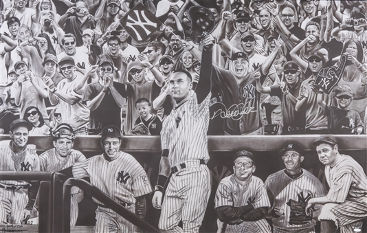 Derek Jeter Single Signed New York Yankees Legends Giclee on 44x29 Framed Canvas - LE 104/150 (Steiner)