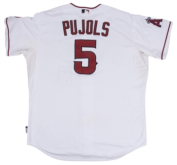 2015 Albert Pujols Game Used Los Angeles Angels Home Jersey Photo Matched To 12 Games (HR Jersey MLB Auth & Sports Investors Authentication)