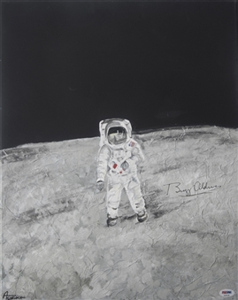Buzz Aldrin Signed Original Moon Landing 20x24 Painting on Canvas (PSA/DNA)
