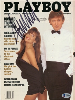 Donald Trump Signed Playboy Magazine March 1990 (Beckett)