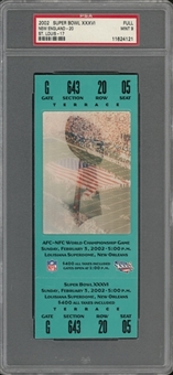 2002 Super Bowl XXXVI Full Ticket, Green Variation - PSA MINT 9