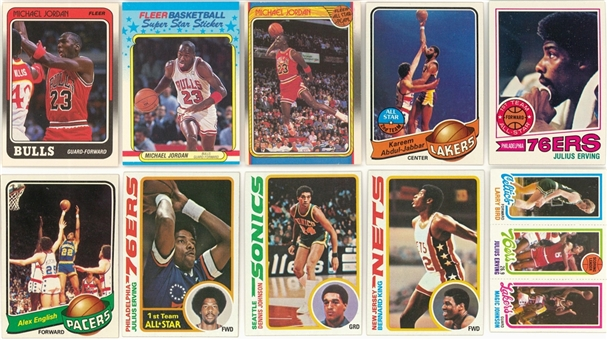 1976/77-1988/89 Topps and Fleer Basketball Sets Collection (7 Different) Including Bird, Jordan and Other Hall of Famers