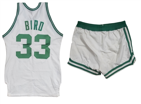 1979-80 Larry Bird Rookie Season Game Used Boston Celtics Home Uniform: Jersey & Shorts (MEARS A10)