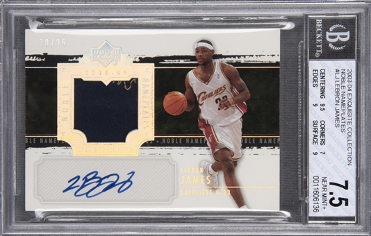 "2003-04 UD ""Exquisite Collection"" Noble Nameplates #LJ LeBron James Signed Rookie Card (#20/25) – BGS NM+ 7.5/BGS 10"
