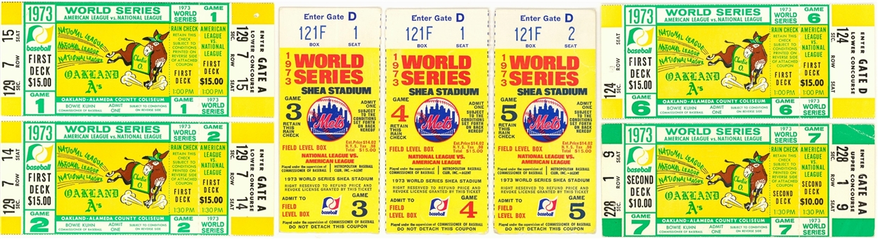 Lot of (7) 1973 World Series New York Mets vs. Oakland As Full Run Ticket Collection