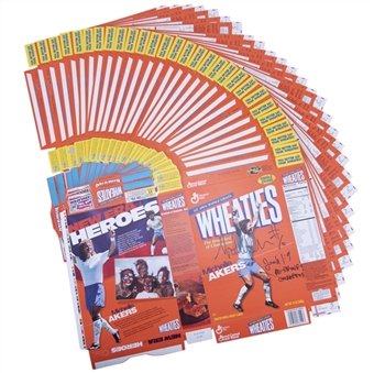 Lot of (38) Michelle Akers Signed Endorsements Including 28 Uncut Wheaties Boxes (Akers LOA)