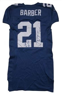 2002 Tiki Barber Game Used & Signed New York Giants Home Jersey Photo Matched To 9/22/2002 (Beckett)