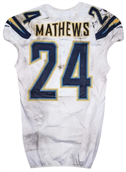 2013 Ryan Mathews Game Used San Diego Chargers Road Jersey Photo Matched to 10/20/2013 (Charger/MeiGray)
