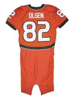 2006 Greg Olsen Game Used Miami Hurricanes Alternate Jersey Photo Matched To 10/7/2006