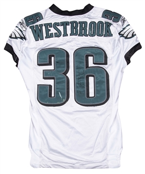 2007 Brian Westbrook Game Used & Signed Philadelphia Eagles Road Jersey Photo Matched To 9/9/2007 (Westbrook LOA)