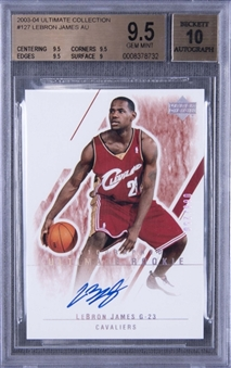 "2003-04 ""Ultimate Collection"" #127 LeBron James Signed Rookie Card (#088/250) – BGS GEM MINT 9.5/BGS 10"