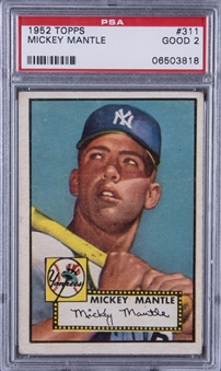 1952 Topps #311 Mickey Mantle Rookie Card – PSA GD 2