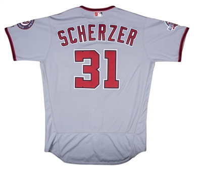 2018 Max Scherzer Game Used Washington Nationals Road Jersey Photo Matched To 4 Games For 4 Wins (MLB Authenticated & Sports Investors Authentication)