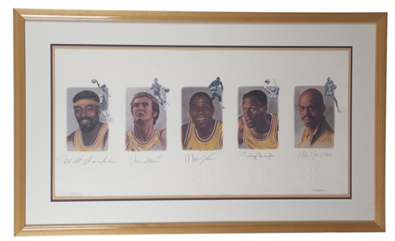 Lakers Legends Multi-Signed and Framed Lithograph Including Wilt Chamberlain, Magic Johnson, Kareem Abdul Jabbar, Elgin Baylor, and Jerry West (Beckett)