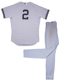2014 Derek Jeter Game Used New York Yankees Road Uniform: Jersey & Pants Used on 6/11/2014 For Hits #3373 & 3374 (MLB Authenticated & Steiner)