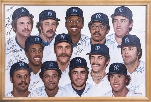 1978 New York Yankees Multi Signed Original Artwork With 25 Signatures In 40x27 Framed Display (JSA)