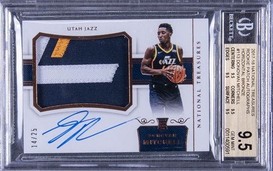 "2017/18 ""National Treasures"" Rookie Patch Autographs #113 Donovan Mitchell Signed Rookie Card (#14/25) – BGS GEM MINT 9.5/BGS 10"