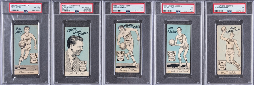 1950-51 Scotts Potato Chips Collection (5 Different) Including Mikan - #3 on the PSA Set Registry!