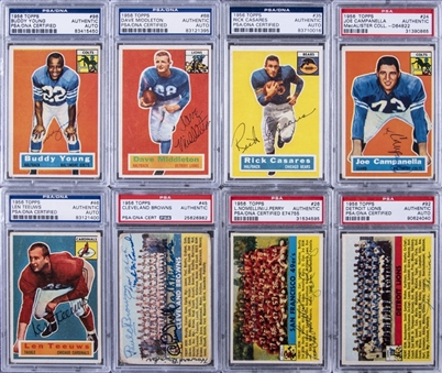 1956 Topps Football Signed Cards PSA/DNA-Graded Collection (8 Different)