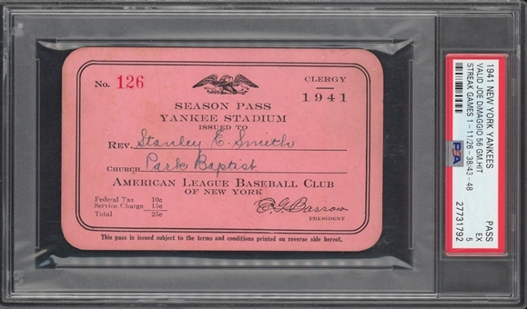 1941 New York Yankees Season Pass - Valid for Joe DiMaggios 56 Game Hit Streak - PSA 5 EX