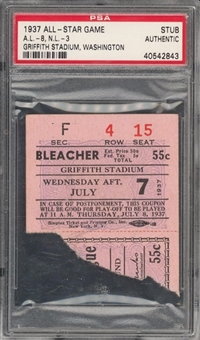 1937 All Star Game Ticket Stub - Gehrig Home Run - PSA Authentic