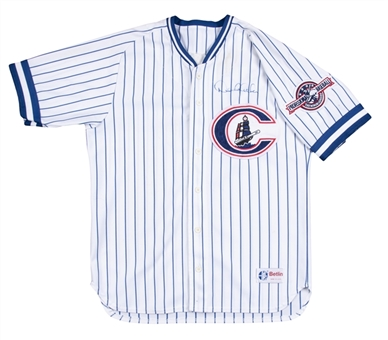 1995 Derek Jeter Game Used & Signed Photo Matched Columbus Clippers Home Jersey (Clippers LOA & Sports Investors Authentication)