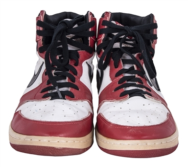 1984-85 Michael Jordan Rookie Season Game Used & Dual Signed Pair of Air Jordan I Sneakers (MEARS, Bulls Trainer LOA & PSA/DNA)